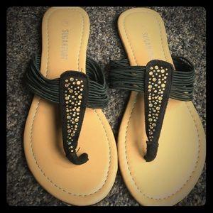 Sugarfoot Black Rhinestone Sandals
